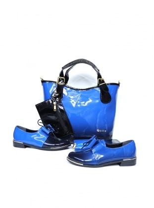 Sitill Ayakkabı & Çanta & Cüzdan Takım - Saks