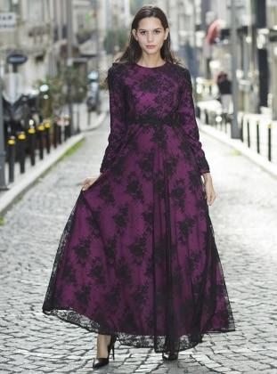 Black - Purple - Multi - Crew neck - Fully Lined - Dresses