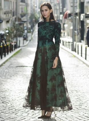 Green - Black - Multi - Crew neck - Fully Lined - Dresses - MODAYSA 383694