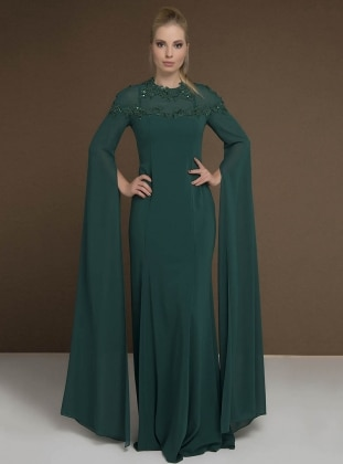 Green - Crew neck - Fully Lined - Dresses - MODAYSA 383692