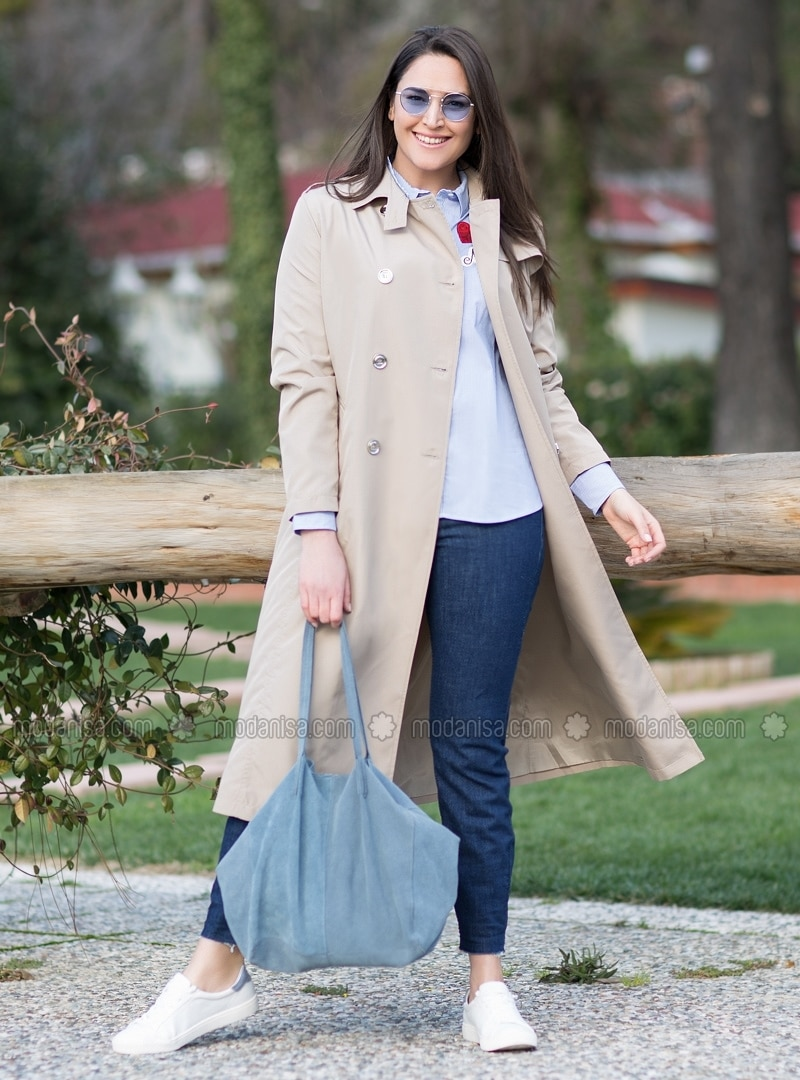 14fe7e2c5c27c Beige - Fully Lined - Point Collar - Plus Size Trench coat
