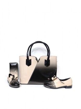 Sitill Ayakkabı & Çanta & Cüzdan Takım - Bej