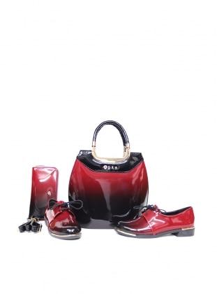 Sitill Ayakkabı & Çanta & Cüzdan Takım - Bordo