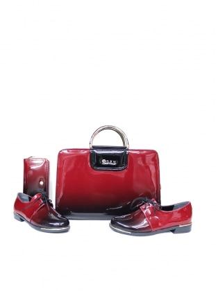 Sitill Ayakkabı & Çanta & Cüzdan Takım - Kırmızı
