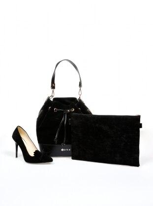Sitill Ayakkabı & Çanta & Cüzdan Takım - Siyah