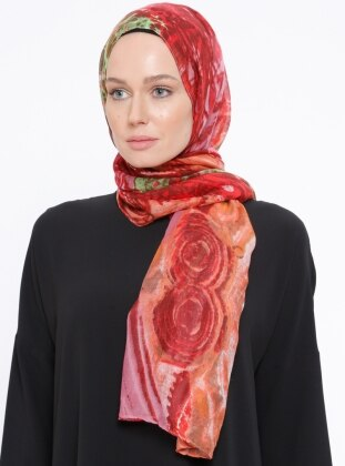 Printed - Red - Powder - Shawl