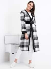 Ekose Detaylı Kimono - Siyah - Alia