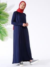 Navy Blue - Unlined - Viscose - Suit