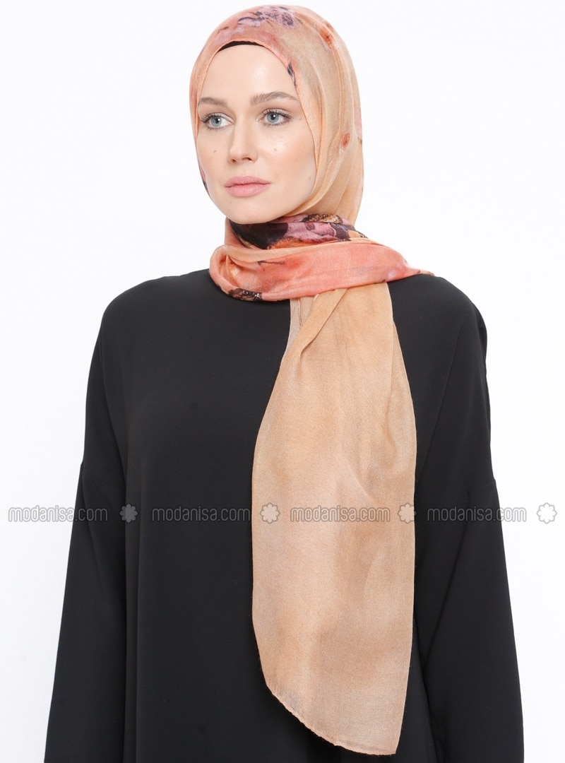 Brown - Printed - Shawl