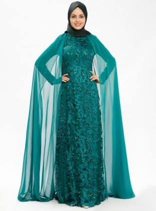 Green - Fully Lined - Crew neck - Muslim Evening Dress - MODAYSA 385359