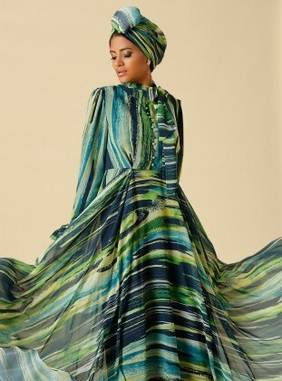 Patterned Button Detailed Evening Gown - Green