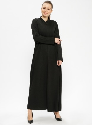 Black - Crew neck - Unlined - Plus Size Abaya - ModaNaz 385399