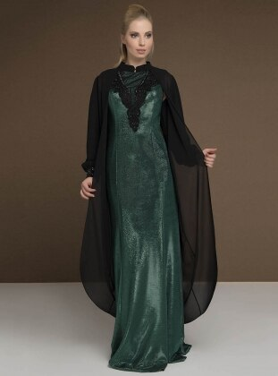 Green - Fully Lined - Crew neck - Muslim Evening Dress - MODAYSA 385386