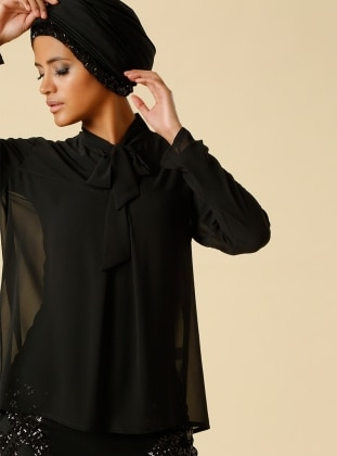 Bow Embroidered Chiffon Blouse - Black