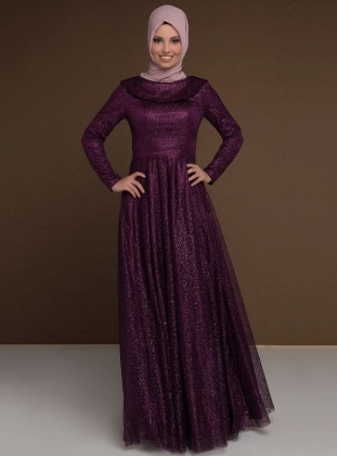Purple - Fully Lined - Boat neck - Muslim Evening Dress