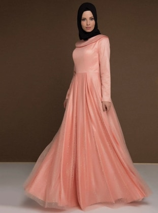 Salmon - Fully Lined - Boat neck - Muslim Evening Dress