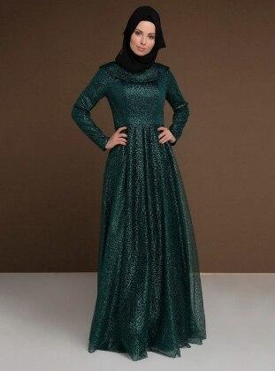 Green - Fully Lined - Boat neck - Muslim Evening Dress - MODAYSA 385380