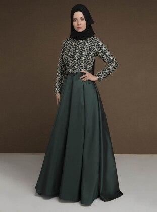 Green - Fully Lined - Crew neck - Muslim Evening Dress - MODAYSA 385373