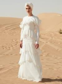 Volanlı Dantel Detaylı Abiye Elbise - Beyaz - Raşit Bağzıbağlı X Modanisa
