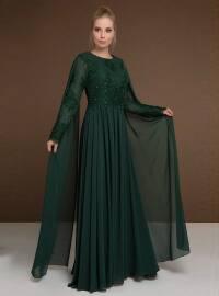 Dantelli Şifon Abiye Elbise - Yeşil - MODAYSA