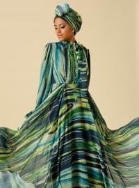 Desenli Brit Detaylı Abiye Elbise - Yeşil - Raşit Bağzıbağlı X Modanisa