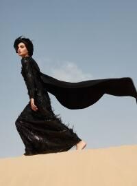 Tüy Detaylı Payetli Abiye Elbise - Siyah - Raşit Bağzıbağlı X Modanisa