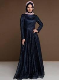 Simli Abiye Elbise - Lacivert - MODAYSA
