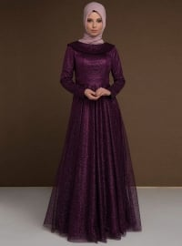 Purple - Fully Lined - Boat neck - Muslim Evening Dress
