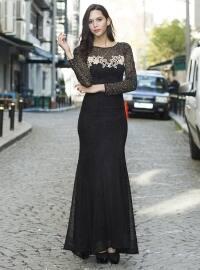 Taşlı Aplik Detaylı Simli Zırh Abiye Elbise - Siyah - MODAYSA