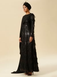 Feather Detailed Sequin Evening Gown - Black