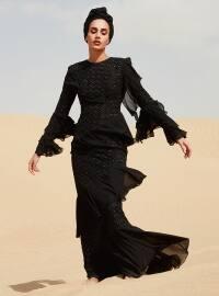 Volanlı Payet Detaylı Abiye Elbise - Siyah - Raşit Bağzıbağlı X Modanisa