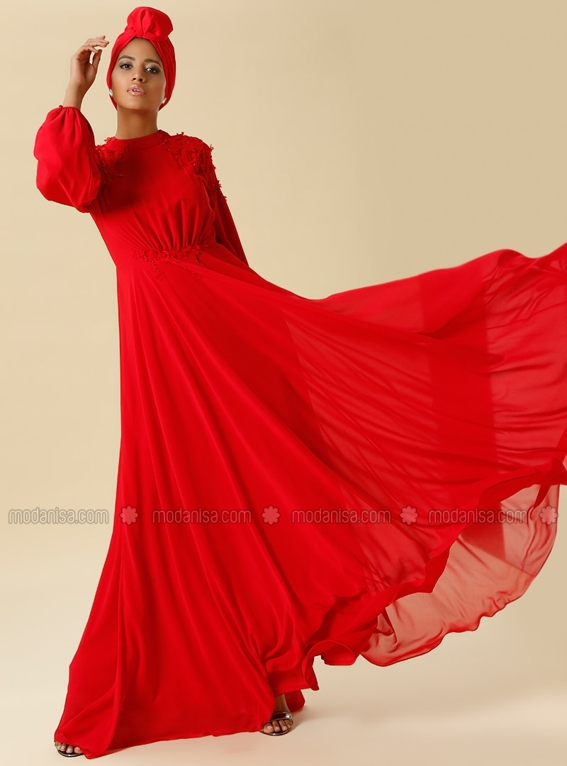 Bead Embroidered Floral Applique Evening Gown - Red