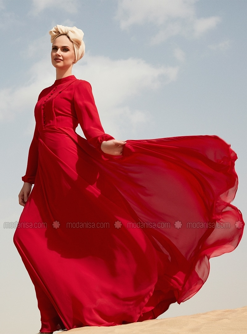 d39133cc48e52 Green Fully Lined Crew neck Muslim Evening Dress Selma Sari Design