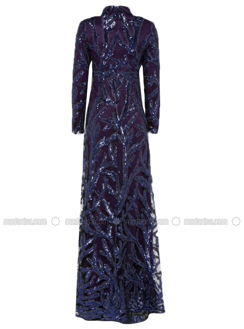 Sequin Embroidered Evening Gown - Purple