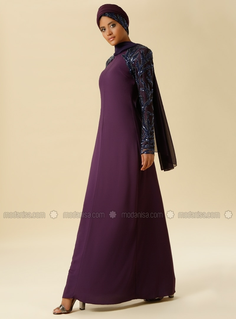 Sequin Embroidery Detailed Evening Gown - Purple