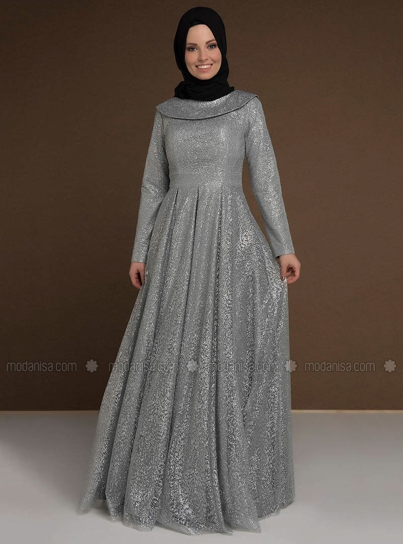 Gray - Fully Lined - Boat neck - Muslim Evening Dress