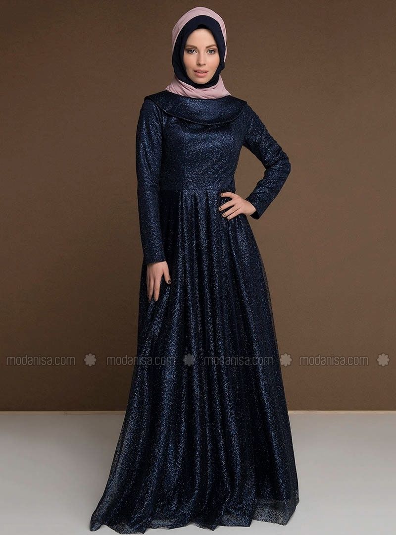Blue - Fully Lined - Boat neck - Muslim Evening Dress - MODAYSA