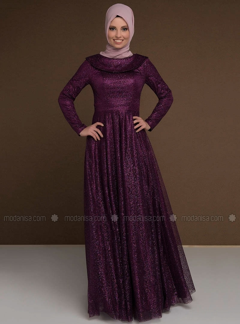 Fully Lined - Boat neck - Muslim Evening Dress - MODAYSA