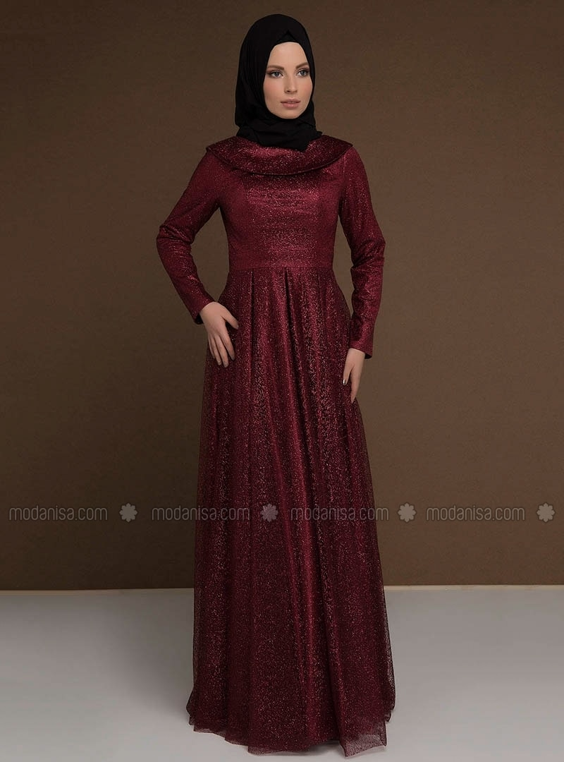 Maroon - Fully Lined - Boat neck - Muslim Evening Dress