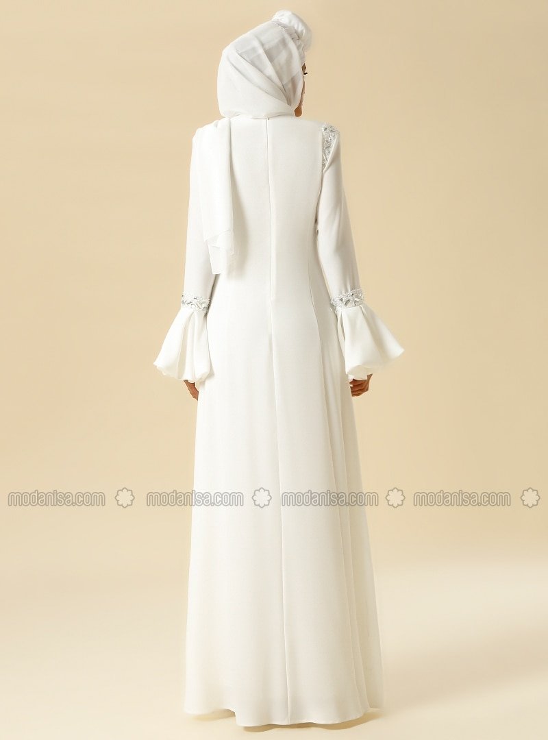 60f34d5321 Bead Embroidered Evening Gown - White