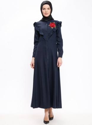 Navy Blue - Point Collar - Unlined - Dresses - Mileny 385552