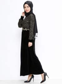 Simli Kadife Elbise - Siyah Gold - Picolina