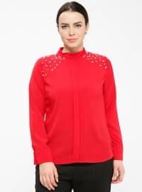 İnci Detaylı Bluz - Kırmızı - Picolina