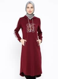 Kapüşonlu Tunik - Bordo - Ginezza