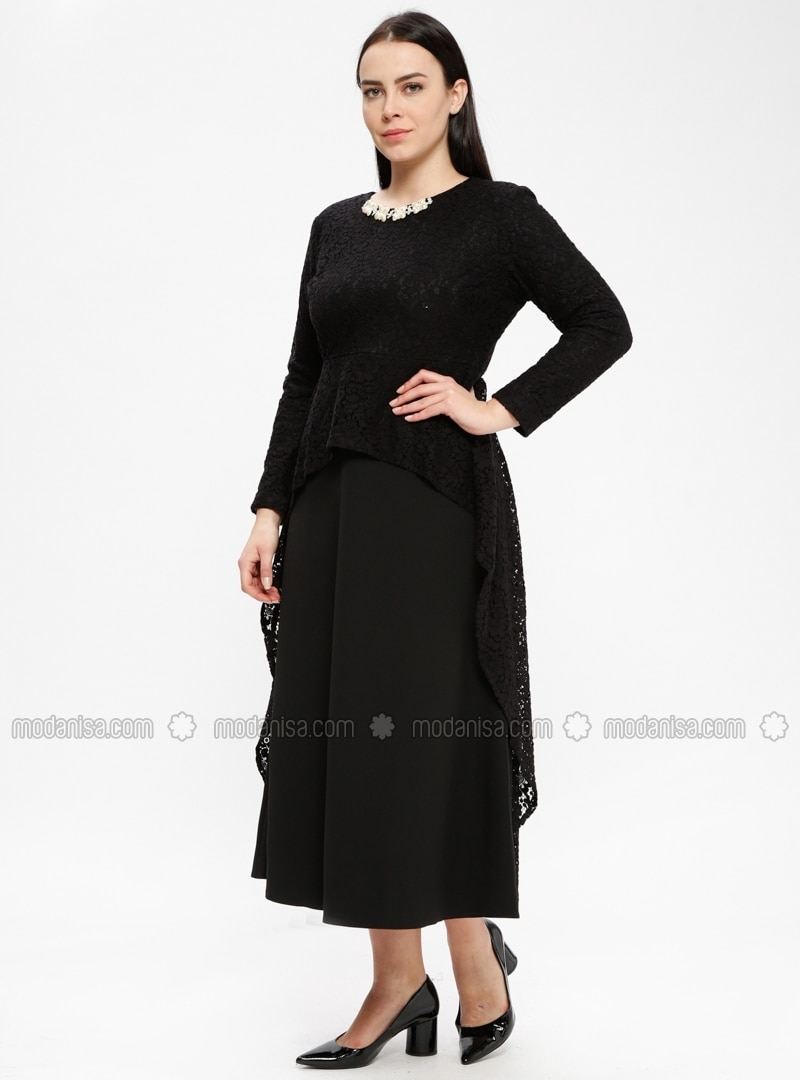 Black - Unlined - Crew neck - Muslim Plus Size Evening Dress - Picolina