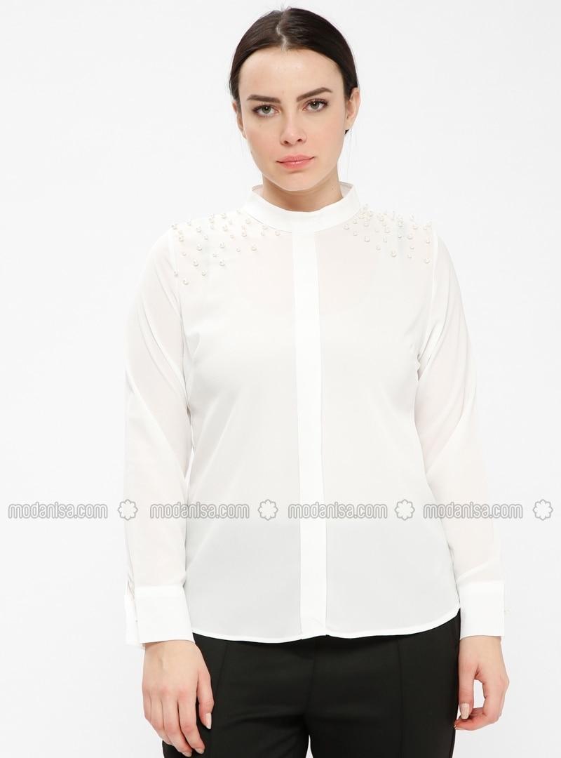 White - Ecru - Polo neck - Plus Size Blouse