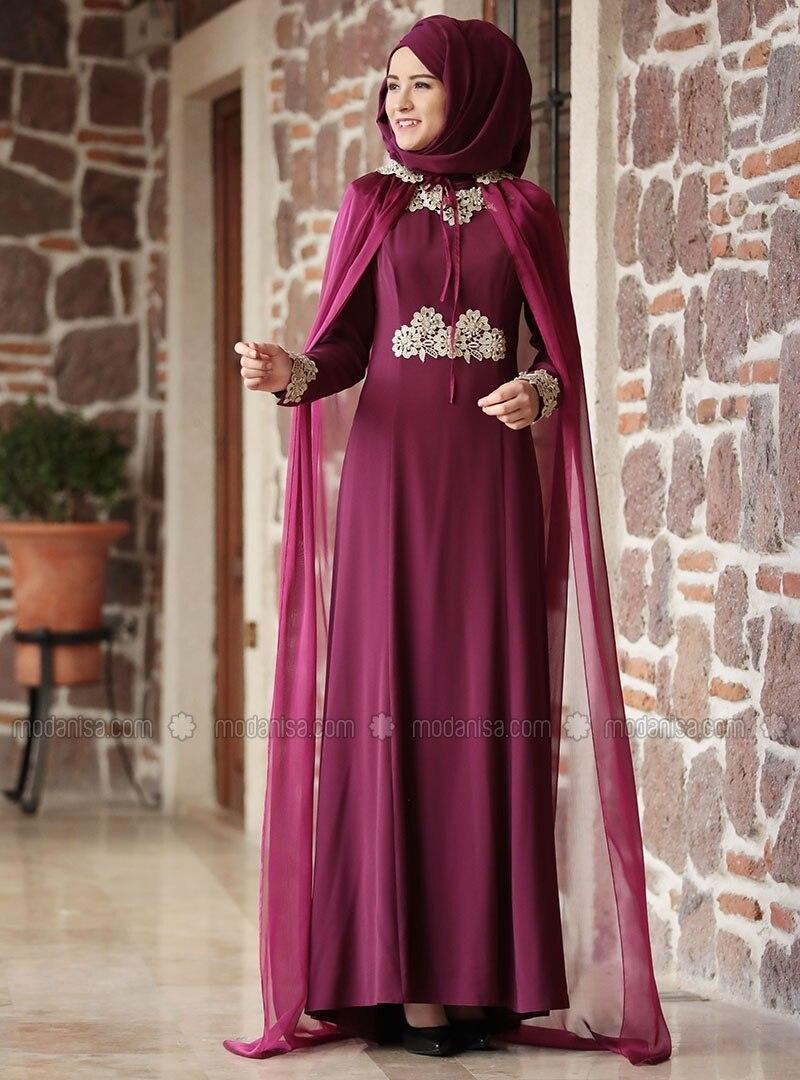 83c45ea3b9 Pink - Purple - Fully Lined - Crew neck - Muslim Evening Dress. Fotoğrafı  büyütmek için tıklayın