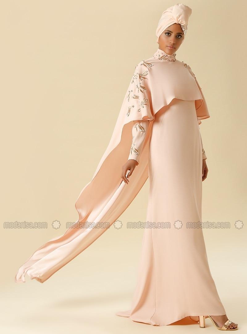 Cape-Kleid mit Steinen - Puder