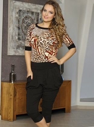 Black - Crew neck - Leopard - Pyjama - ANIL