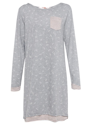 Gray - Multi - Crew neck - Nightdress